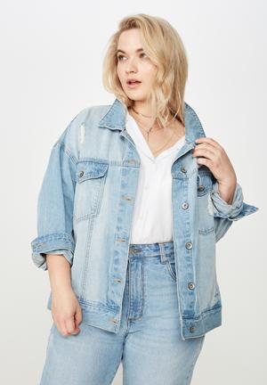 Curve boyfriend denim jacket  - blue