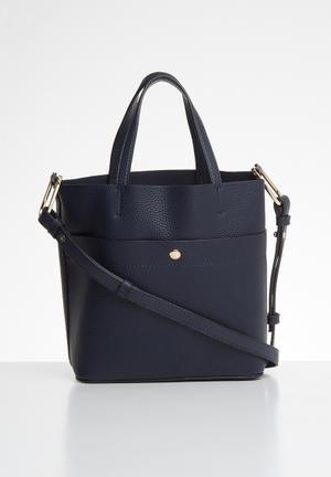 Pebbled shopper bag - navy