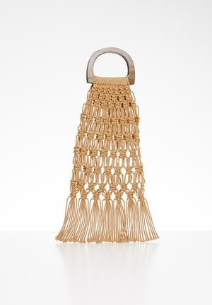 Net bag with wooden handle - beige