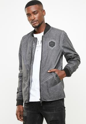 Dirty dye bomber jacket - black & grey