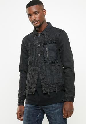 Utility denim jacket - black