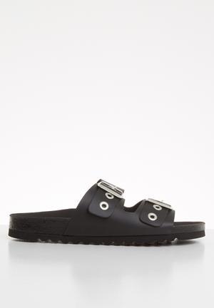 Laura leather sandal - black
