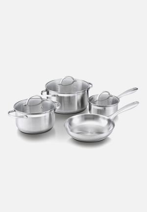 Amsterdam cookware set 7pc + free glove - silver