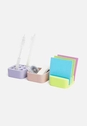 Cube desktop organiser set of 3 - multi