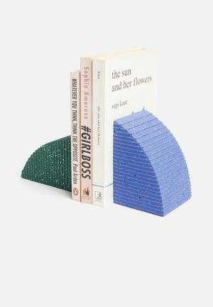 Terrazzo bookends set of 2 - blue & green