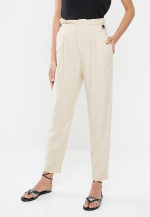 Amber high paperwaist linen pants - beige