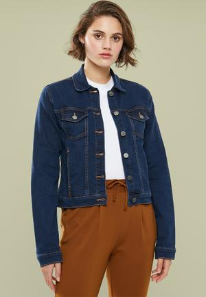 Fitted denim jacket - navy
