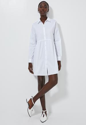 Babydoll shirt dress - white