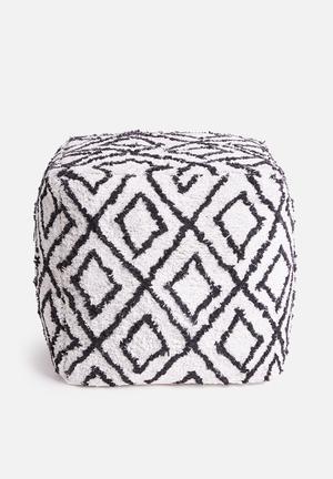 Soft ottoman - white & black