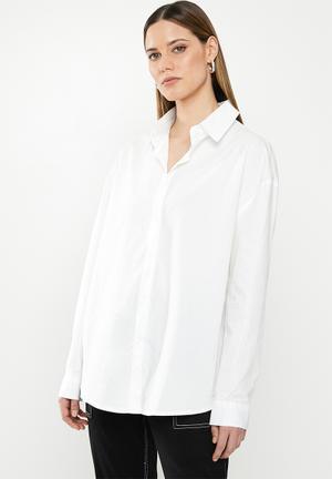 Oversized cotton poplin shirt - white