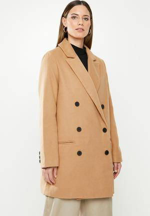 Short oversized double breasted coat - brown