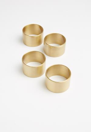 Ella napkin ring set of 4 - brass