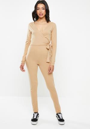 Wrap top long sleeve legging lounge set - brown