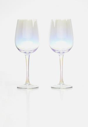Iridescent wine glass set of 2 - clear