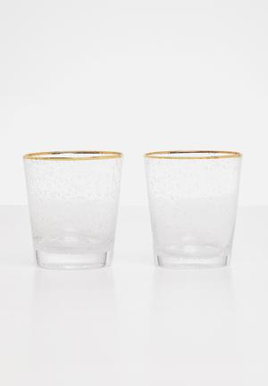 Gold rim water glass set of 2 - clear