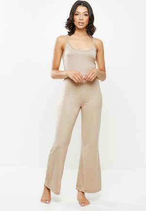 Strappy wide leg loungewear jumpsuit - beige