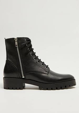Mili leather biker boot - black