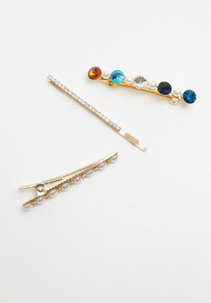 3 pack embellished hair slide set - multi