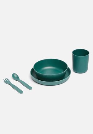 Kids bamboo dinner set - emerald