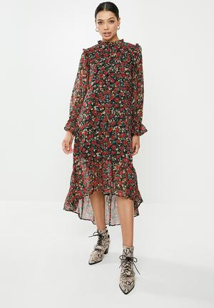 Frill neck midi smock dress floral - multi