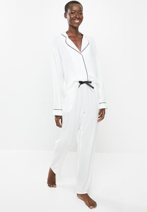 Sleep shirt & pants set - black & white