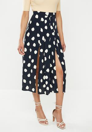 Messy spot skirt - navy & cream