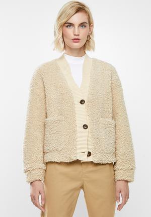 Annika short teddy jacket - neutral