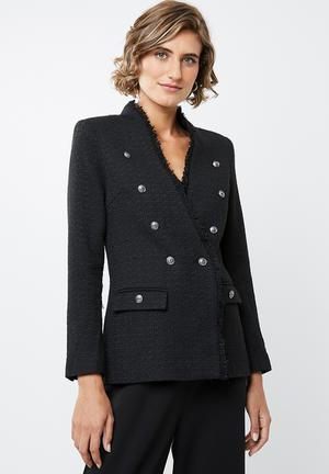 Textured military jacket - black