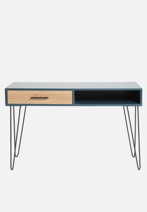 Penn 1 drawer desk - blue&natural