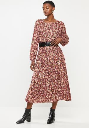 Pu belt midi dress - multi