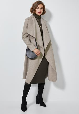 Unlined wrap melton coat - taupe