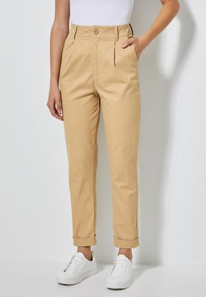 Tapered trousers - camel