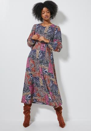 Midi tea dress long sleeve - multi