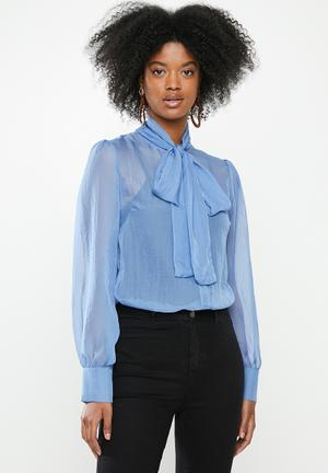 Kitty bow blouse - blue