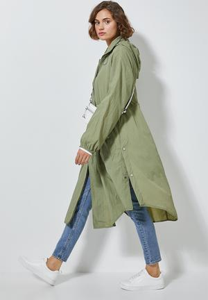 Longer length waterproof anorak - green