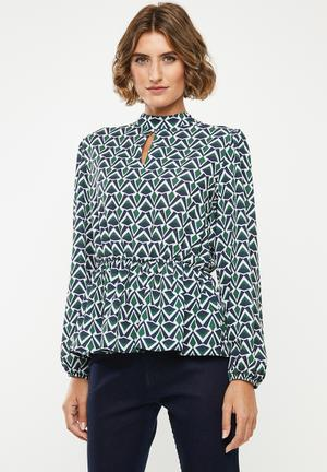 Waisted blouse with keyhole - multi