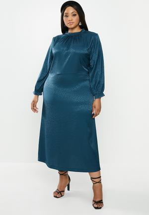 Satin midi dress - blue