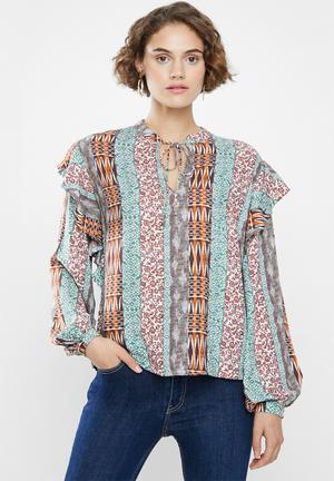 Ruffle femme blouse - multi