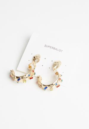 Multi-stone hoop earrings - gold