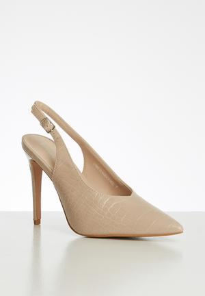 CASTAMERE High Heels Womens Block Heels Round Toe Slip-on Court Shoes 4IN Heeled