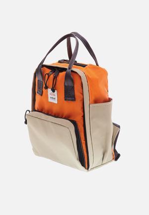 Buddy backpack - orange & beige