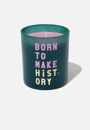 Solid quote candle - blue & pink