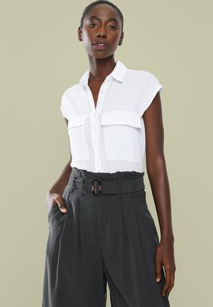 Short sleeve utility shirt - white