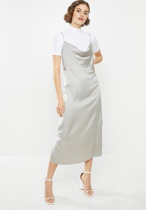 Cowl cami slip dress satin - grey