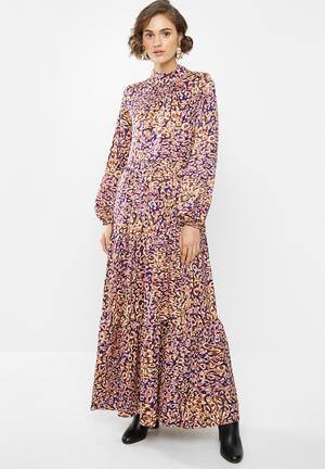 Tiered maxi dress - pink & purple