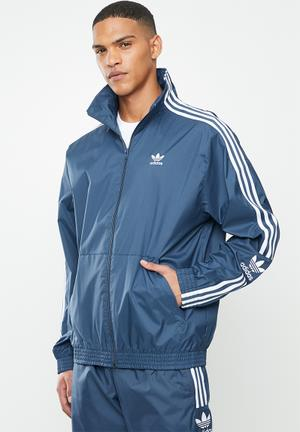 Lock up track top - blue & white