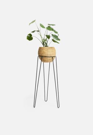 Banjar standing planter - black & brown