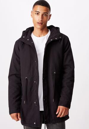 Hooded parka - black
