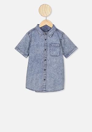 Resort short sleeve shirt - denim wash