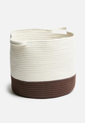 Cotton rope basket - white & rust brown